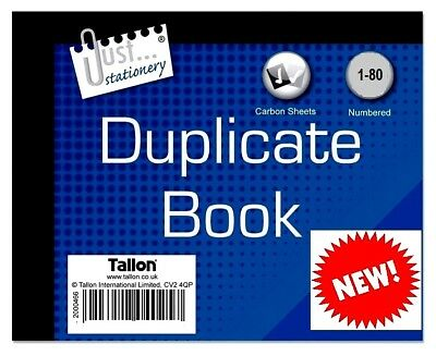Half Size Duplicate Receipt Book Numbered Cash 1-80 - WH2-R2/3 : 130 : NEW BOOK