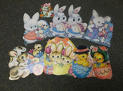 Vtg Lot 8 Cute Large Easter Die Cut Wall Decorations/printed In Usa*carrington
