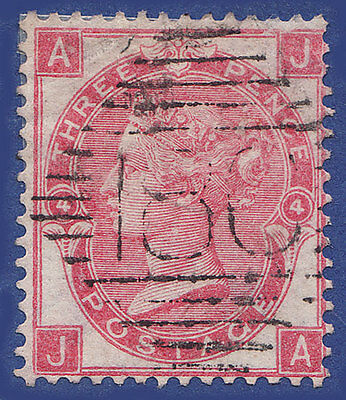GB QV 1865 3d ROSE PLATE 4  JA  SG92 GU IN DUBLIN 186 CAT £250
