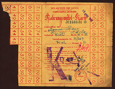 JUDAICA Getto Litzmannstadt (1939-44) Ration Card for articles of food