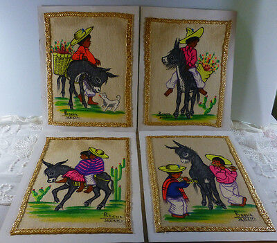 Four Vintage Mexican Folk Art Paintings Signed BAENA MEXICO Children w Donkey