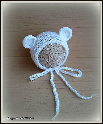 Newborn Baby Boy Girl Handmade Crochet fluffy bear  Bonnet Hat Photo Prop