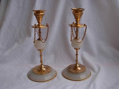 Pair Of Antique French Gilt Brass,bronze & Onyx Candle Holders,late 19 Century.