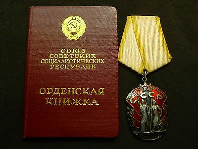 1966 Russian Soviet Order Badge of Honor SILVER USSR + Doc 316,285 to Woman USSR