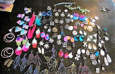 Quantity of assorted shell earrings, resale, mending or reworking