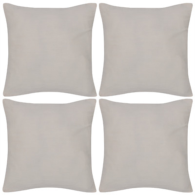 4 Cushion Cover Pillow Case Soft Cotton Fabric Beige Square Home Sofa Bed Decor