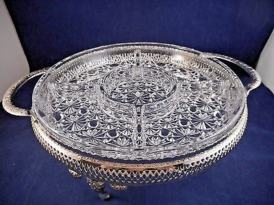 Indiana Glass Daisy and Button 5-Part Relish Dish and Mayell Silverplate Holder
