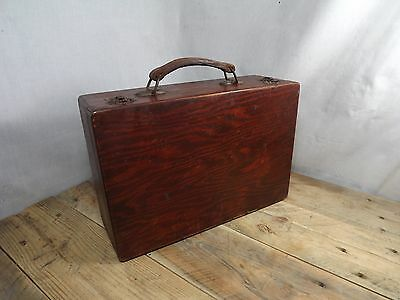 Vintage Wooden Suitcase With Leather Handle Toolbox Display Artists Kit?