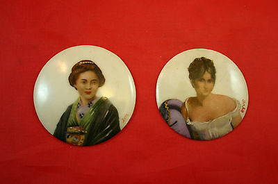 2 Miniatures Limoges Hand-Painted And Signed Portraits on Porcelain