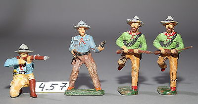 4 alte Elastolin Massefiguren 7,5 cm Wildwest Cowboys # 457