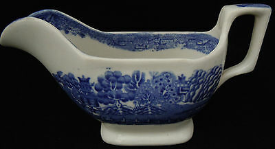 Victorian Unmarked Blue and White 'Willow' Pattern Sauce Boat
