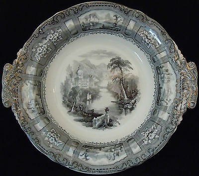 F Morley Black, White and Gilt 'Shannon' Pattern Vegetable or Fruit Stand c1845
