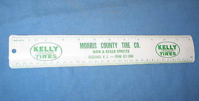 """Vintage Kelly Springfield Automobile Tires 12"""" Metal Advertising Ruler Made USA"""