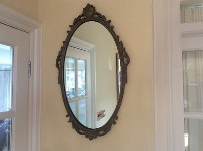 Antique/Vintage Victorian Gilt Baroque Oval Wall Mirror Gilted Ornate Wood