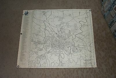 Large Map Lancaster Pa Pennsylvania 1957 Street Roads History