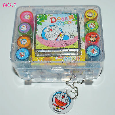 Doraemon mini Stamps Seal with 4 color stamp pad 8PCS pattern Kids gift