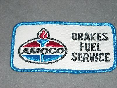 AMOCO Embroidered Patch DRAKES FUEL SERVICE Uniform Shirt Gas Station Logo