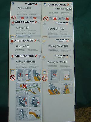 lot de 8 Air France safety card Boeing Airbus