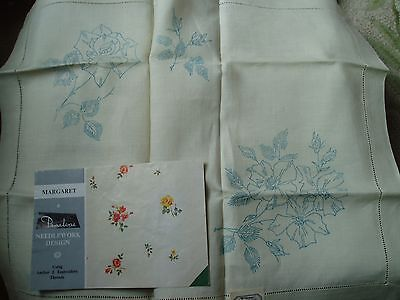 "A Penelope 54"" square transfer printed linen tablecloth with matching tray cloth"