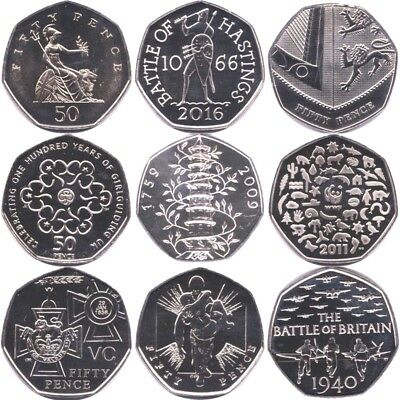Brilliant Uncirculated 50p Fifty Pence Coins 1982 - 2016 Choose Your Dates BU