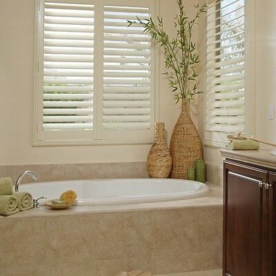 "NEW INTERIOR WOOD PLANTATION SHUTTERS Creamy color 3.5"" LOUVERS 34.75x70.5"" qty2"