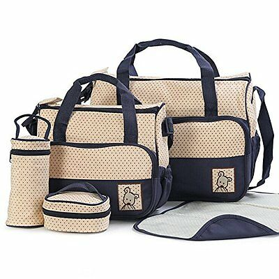 5 pcs Baby Changing Diaper Nappy Bag Tote Mummy Mother Multifunctional Handbag