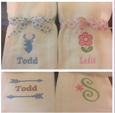 Personalized Embroidered Custom  Baby Burp Cloths Set Of 3