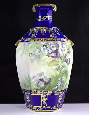 Altered Nippon Morimura Bros Moriage Royal Blue and Gold Vase w/ Purple Flowers