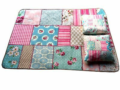 2in1 Flair Rugs Kiddy Print Plush Patchwork Soft Play Mat & Cushion Non Slip Mat