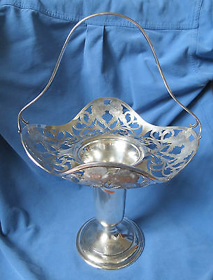 BEAUTIFUL STERLING SILVER PIERCED FLOWER BASKET VASE - JS & CO - 23 oz.
