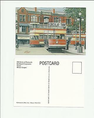 Postcard Bus & Trams Southport Corporation Art Postcard by G S Cooper
