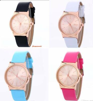 Ladies Women Girl Analog Quartz Wrist Watches Fashion Leather Strap in 5 Colour
