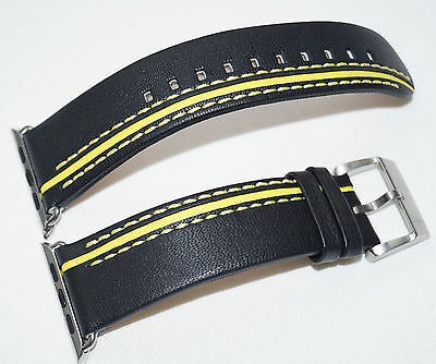 267700902cb0 LUXURY FERRARI Black LEATHER BAND STRAP FOR APPLE WATCH 42MM SERIES 1   2