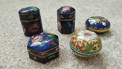 Vintage Small Chinese Cloisonne Trinket / Snuff Box x 5