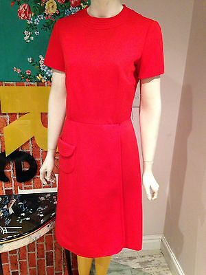 Vintage 1960's  Red Drop Waist Mod Dress Size 10?