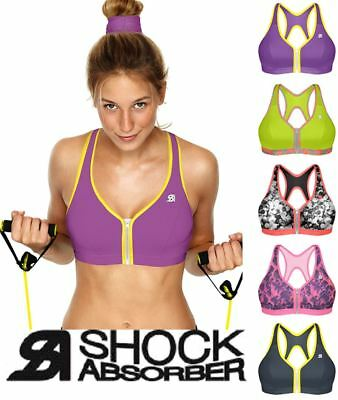 Shock Absorber Active Zipped Plunge Sports Bra Top S00BW