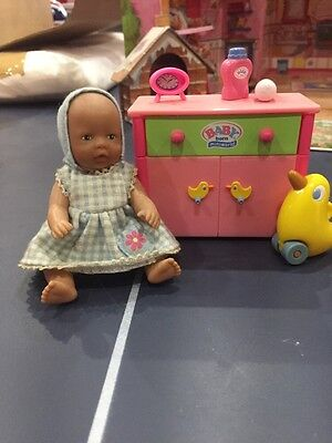 Mini Baby Born Doll With Accessories And Cabinet