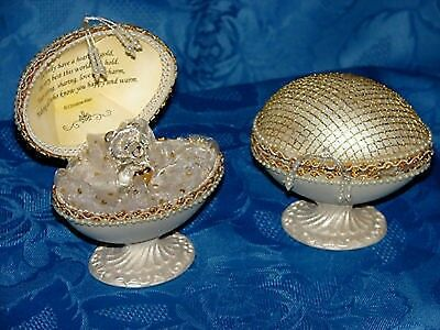 Cellini Faberge Egg Personalised Gift Keepsake Teddy Religious Christian  #2