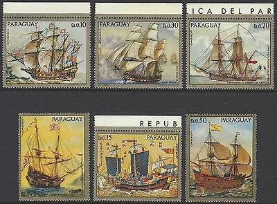 PARAGUAY 1972 Famous Sailing Ships Paintings/art set of 6, mint MNH
