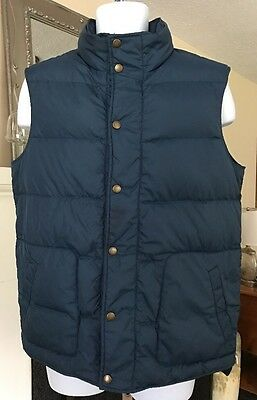 Men's LANDS' END Navy Blue Snap Close Down Puffer Vest Sz M