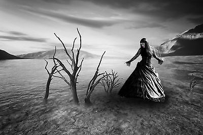 Framed Print - Gothic Woman Barren Landscape (Picture Occult Magic Witchcraft)