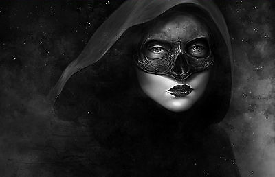 Framed Print - Gothic Woman with Dark Mask (Picture Occult Magic Witchcraft Art)
