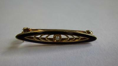 Victorian 14k Gold & Pearl & Black Enamel Mourning Brooch Pin 2 available