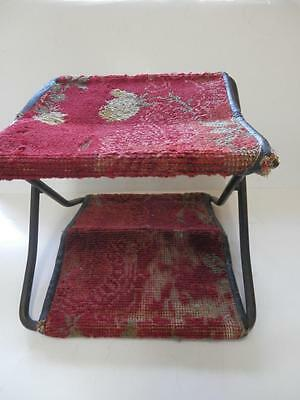 Antique Victorian Carriage Buggy Cast Iron &Carpet Folding Step label dated 1895