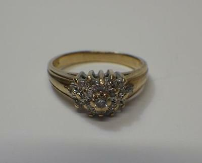 Vintage 10k Gold Diamond Cluster Ladies Dress Ring US 5 1/2 UK L