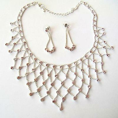Women's Set Necklace And Earrings C. Silver With Simulated Rose France -  84 Z