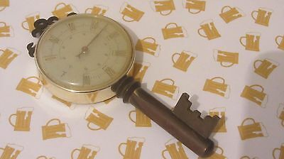 Vintage French thermometer, free standing with key