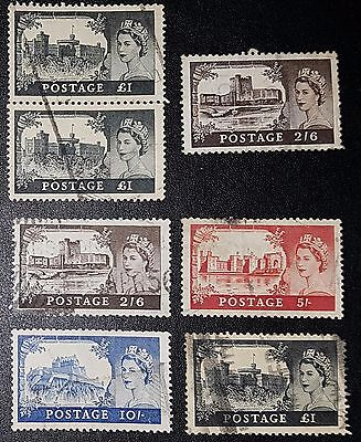 GB SG536/9 High Value Castles Definitive St Edward's Crown Used Set + (No1477)