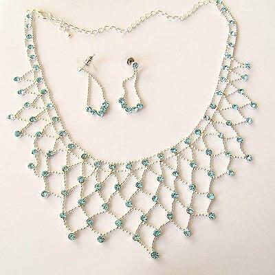 Women's Set Necklace And Earrings C. Silver With Simulated Aquamarine -  83 Z