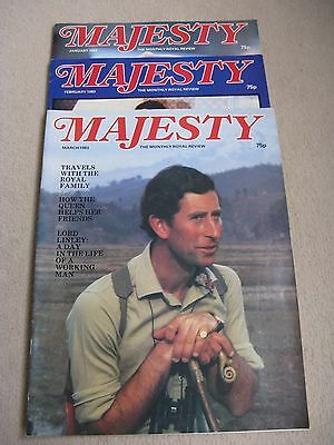 Set Of 3 Majesty, The Monthly Royal Review Magazine Jan1983 to March 1983